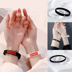 """silicone wristband man woman Couple lovers category fashion accessories sports bracelet """"Candycat"""" black"""