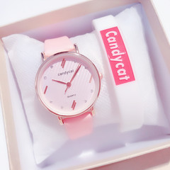 Sweet candy-colored watches women stylish all-matching quartz ladies watches/leather wristband pink dia:32mm,thickness:8mm