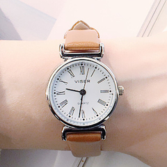 vintage watches women minimally designed ladies watch leather strap/Roman numerals leather Dia:26mm