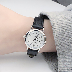 Mini minimalist watches women quartz movemen simplicity and clarity ladies watches white dial/black wristband dia:25mm / thickness:8mm