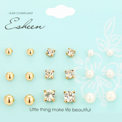 9 Pairs/Set earrings jewellery fashion women jewelry accessories rhinestone&pearl earring gold as show