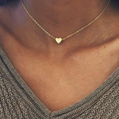 Heart shaped women Jewellry New fashion necklace simple chain metel circle necklace jewelry gold as show