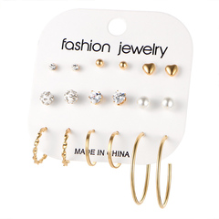 Set of daily jewellery 9Pairs earrings fashion women jewelry accessories rhinestone&pearl earring gold as show