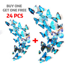 12pcs/set New Arrival Colorful 3D Butterfly Wall Stickers Party Wedding Decor DIY Home Decorations blue 12pcs / set