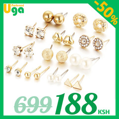 12 Pairs/Set earrings fashion women jewellery accessories rhinestone & pearl earring jewelry golden one size
