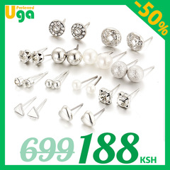 12 Pairs/Set earrings fashion women jewellery accessories rhinestone & pearl earring jewelry silver one size