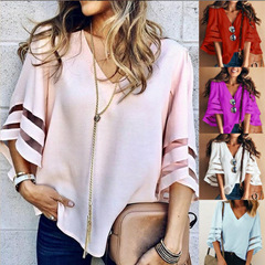 Women Flare Sleeve Blouse Summer Loose V Neck Tops Mesh Stitching Chiffon Shirt Plus Size blue l