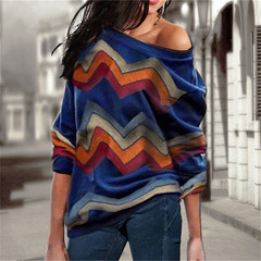 Women Blouses Off Shoulder Tops Striped Print Pullover Jumpers Casual Knitted Tops Long Sleeve Shirt royal blue xxl