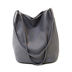 Yogodlns Women Leather Handbags Bucket Shoulder Bags Ladies Cross Body Bags Large Capacity Bag dark grey 1