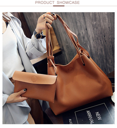 Fashion Luxury Handbags Women Bags Designer Pu Leather 2 Pcs/Set High Capacity Bags bolsa feminina brown 1