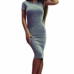 Womens Dress Vestido Short Sleeve Slim Bodycon Dress Tunic Crew Neck Casual Pencil Dress New Arrival xl grey
