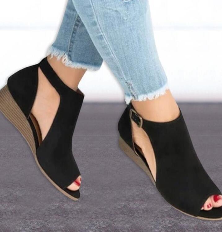 2843c882b woman wedge buckles fish mouth heels gladiator women mid heel ladies peep  toe women shoes black