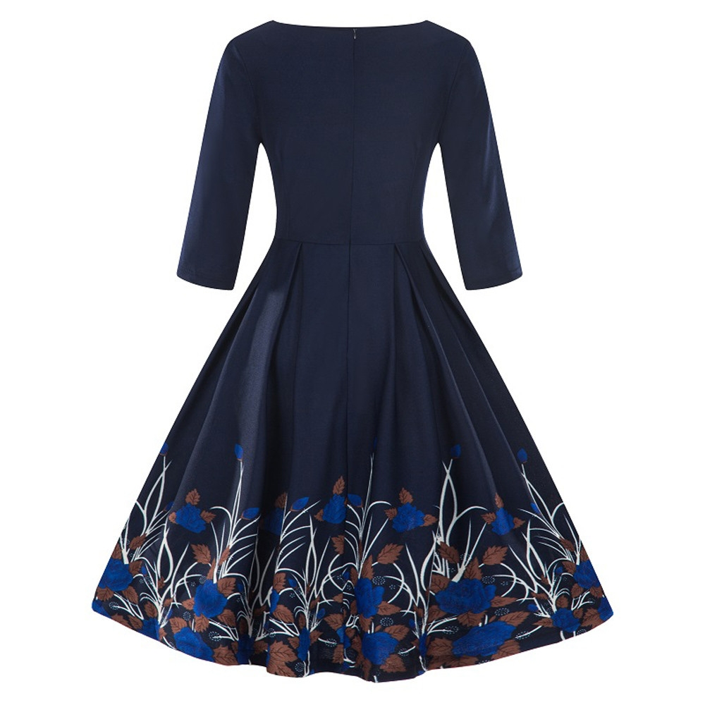 18c3cfcdf17f6 2019 Women Linen 3/4 Sleeve Vintage Dress Patchwork Casual Loose Boho Long  Dresses Plus Size Dresses s red