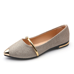 Spring Autumn New Ladies Flat Shoes Casual Women Shoes Comfortable Pointed Toe Flat Shoes gold 7.5