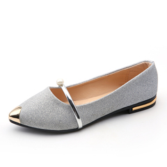 Spring Autumn New Ladies Flat Shoes Casual Women Shoes Comfortable Pointed Toe Flat Shoes silver 8.5