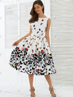 Women Fashion Butterfly Floral Vintage Pleat Swing Dresses Sleeveless Zipper Dress Retro Dresses l as in picture