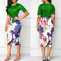 Professional Women Elegant Casual Work Office Classic Printing Patchwork Bodycon Pencil Dress s green