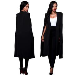 Women Elegant Blazer Contrast Binding Open Front Cape Long Sleeve Blazer Longline Plain Outer black s