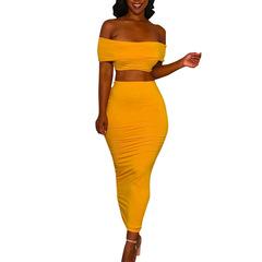 2 Piece Set Women Sexy Crop Top And Long Skirts Bodycon Skirts Set Women Off Shoulder Crop Tops yellow s
