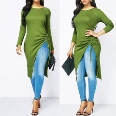 Shirt Womens Ladies Tops and Blouses Long Sleeve O Neck Blouse Clothing Tunic gothic Blouse Blusas green s