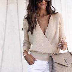 2019 New Womens Casual Sweater Lady Long Sleeve Pullover Sweater Jumper V-neck Thermal Sweaters beige s