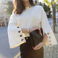 Flare Sleeve Split O-neck Lady Female Tops Women Sweater Clothes New Fashion white s