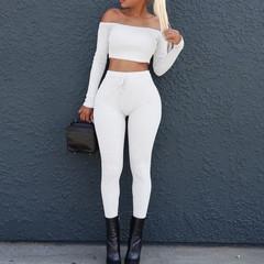 Slash neck 2 Piece Clothing Set Women Long sleeve Crop Top And Pants Suit ladies Sexy Tracksuit black s