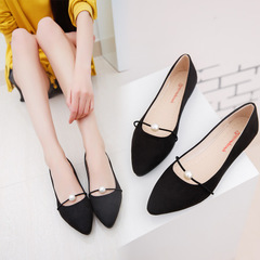 Comfortable point toe flat shoes for women Office work go shopping lady flat shoess black 37