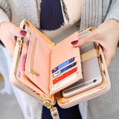 Purse bow wallet female card holders cellphone pocket PU leather women money bag clutch women wallet pink m