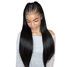 Lace Front Wigs Heat Resistant Fiber Hair Synthetic Wig Silk Straight Synthetic  for Black Women black 24inch