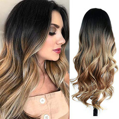 Long Wavy Wig Ombre Brown Blonde gradient High Density Heat Resistant Synthetic Hair Wig For Women as the picture 26inch