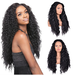 Front lace wig  Long black curly hair  Fluffy density 180% synthetic high temperature silk wig black 26inch