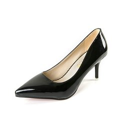 New Women Pumps High heels Lady Patent leather Thick with Autumn Pointed Single Shoes Female Sandals black 36