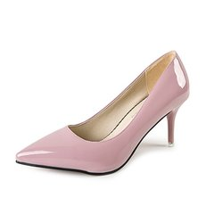 New Women Pumps High heels Lady Patent leather Thick with Autumn Pointed Single Shoes Female Sandals pink 38