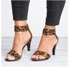 Women Pumps Thin High Heel Open Toe Zipper Suede Wedding Leopard Platform Office Ladies Sandal Shoes leopard 35