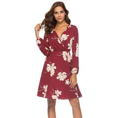 Fashion Summer Dress Female 2018 Womens V Neck Holiday Floral Print Dress Long Sleeve Party Dress s red