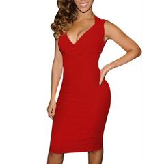 Womens Bodycon Sleeveless Dress Ladies Party Dresses Red Black Sexy Sleeveless Summer Costume s wine red