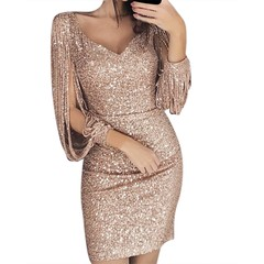 2019 New Fashion Sexy Women Sequined Glitter Stitching Shining Club Sheath Long Sleeved Mini Dress s gold