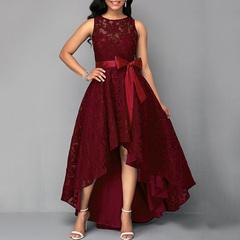 Lace Prom Party Dress Women Elegant Sleeveless Slim Dress High Waist Belted Plus Size Long Dress s wine red