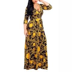 Plus Size chain Bohemian Long Dress Women Tunic Maxi Beach Dress gold Female Floor-Length Vestido s as in picture