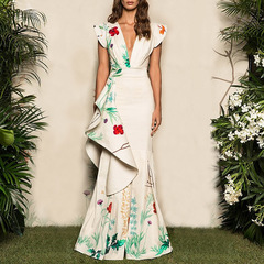 Plus Size 2019 Women Summer Elegant Party Night Dresses Casual Maxi White Trumpet Dress s as in picture