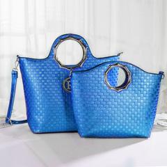 2019 new portable crossbody 2PCS set bag for women Ladies elegant high quality metal ring handbag blue as in picture