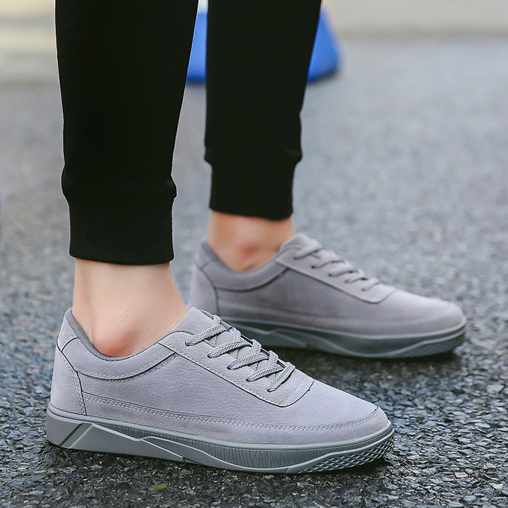 Head layer cowhide men casual sneakers Leather movement black low help leisure men's shoes gray 39