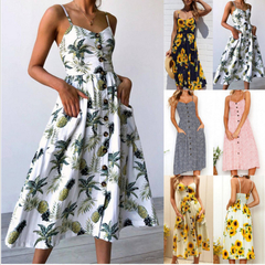 Summer Women Dress 2018 Vintage Sexy Bohemian Floral Tunic Beach Dress Sundress Pocket Red White s yellow