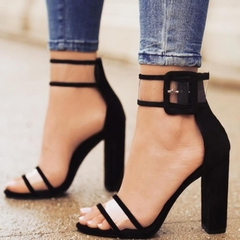 Chunky, high-heeled, sexy, ankle-length sandals black 43
