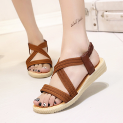 Ladies comfortable beach sandals leisure pregnant women woven shoes brown 39