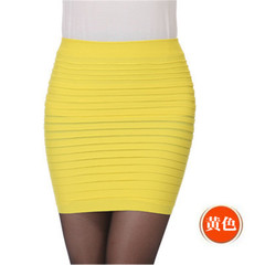 Women's pleated skirt, sexy hip skirt, dual use: mini skirt + corset top. one size yellow
