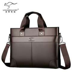 Men's leather briefcase, men's handbag, cross-body bag, casual bag brown 35x26x7cm