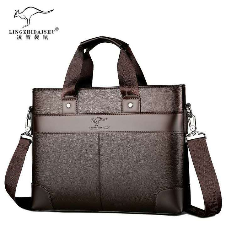 Men's leather briefcase, men's handbag, cross-body bag, casual bag brown 35x26x7cm