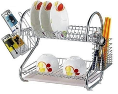 2-Layer Dish Drainer Rack silver one size